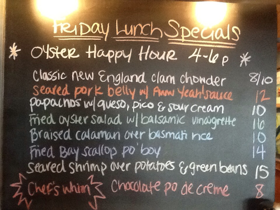 Friday Lunch Specials Featuring Clam Chowder Pork Belly Shrimp