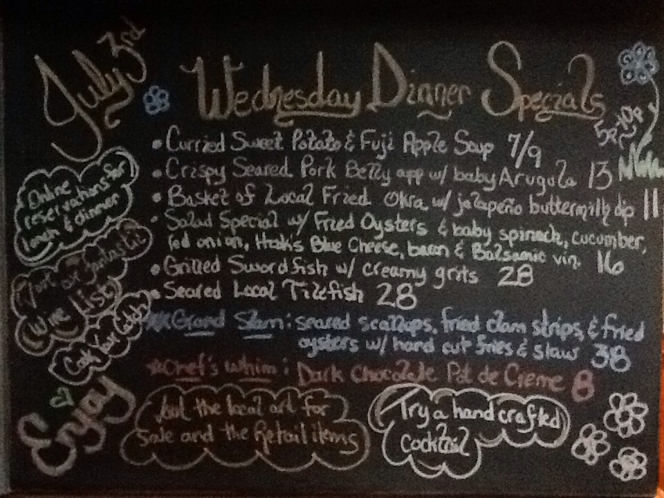 Dinner Specials include crispy seared pork belly, fried