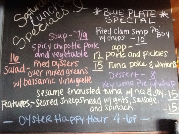 Saturday Dinner Specials Featuring Tuna, Sheepshead and Oysters!