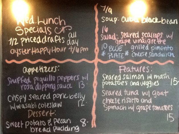 Wednesday Lunch Specials Featuring 1/2 Off All Drafts and Oyster Happy Hour from 4-6pm!