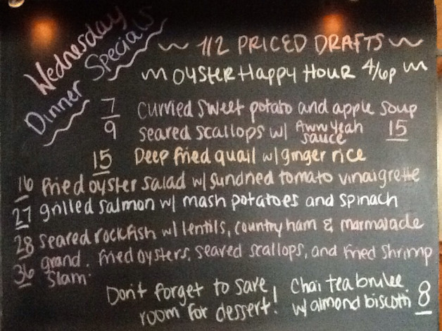 Wednesday Dinner Specials with 1/2 Priced Drafs and Oyster Happy Hour from 4-6pm!