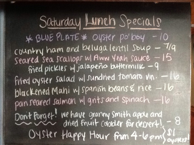 Saturdy Lunch Specials with Our Oyster Po Boy on Blue Plate and Our Daily Buck A Shuck from 4-6pm!