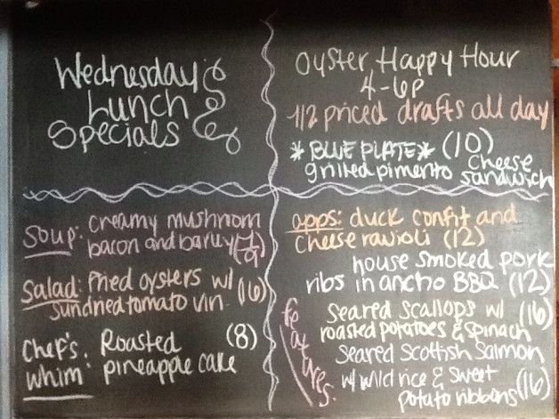 Wednesday Lunch Specials featuring 1/2 Priced Drafts and Oyster Happy Hour from 4-6pm!