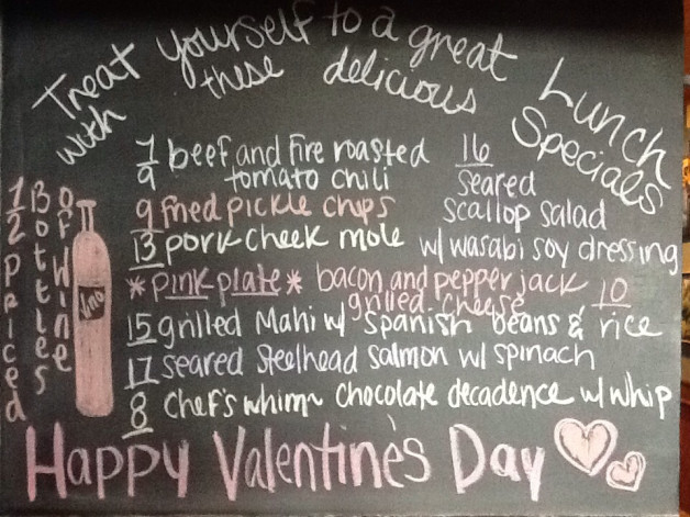 Valentine's Day Lunch Specials featuring 1/2 Priced Bottles of Wine and Oyster Happy Hour from 4-6pm!