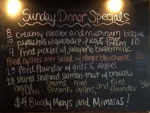 Sunday Dinner Specials featuring Salmon, Flounder and our Oyster Happy Hour from 4-6pm!