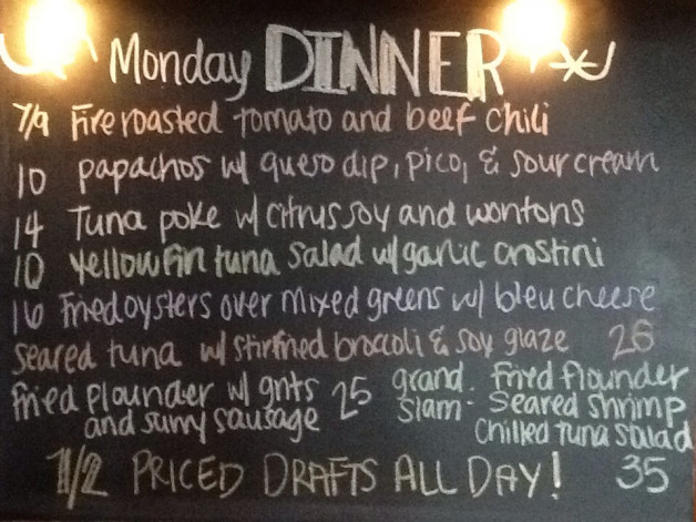 Monday Dinner Specials include Flounder, 1/2 Priced Dras and Oyster Buck A Shuck from 4-6pm!