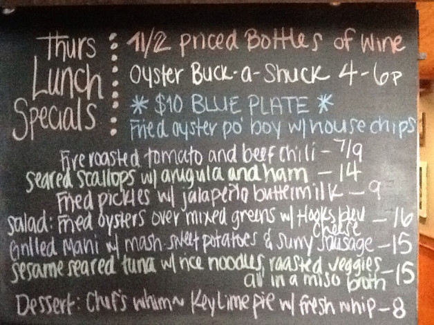Thurs Lunch Specials include 1/2 Priced Bottles of Wine, Oyster Happy Hour from 4-6pm and $10 Oyster Po'Boy for our Blue Plate!