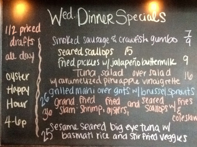 Wed. Dinner Specials Featuring Mahi, Shrimp and Tuna! Don't Forget 1/2 Priced Drafts All Day!
