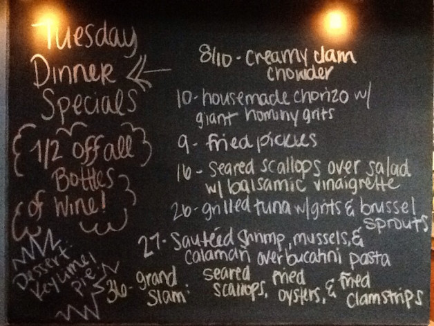 Tuesday Dinner Specials Featuring Tuna, Scallops & Shrimp. Don't Forget 1/2 Priced Bottles of Wine!
