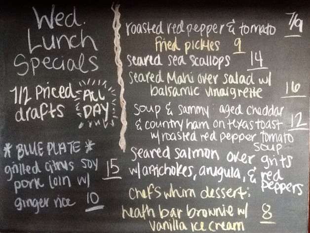 Wed. Lunch Specials feat. 1/2 Priced Drafts, Citris Soy Pork Loin for our Blue Plate, and Scallop Appetizer!