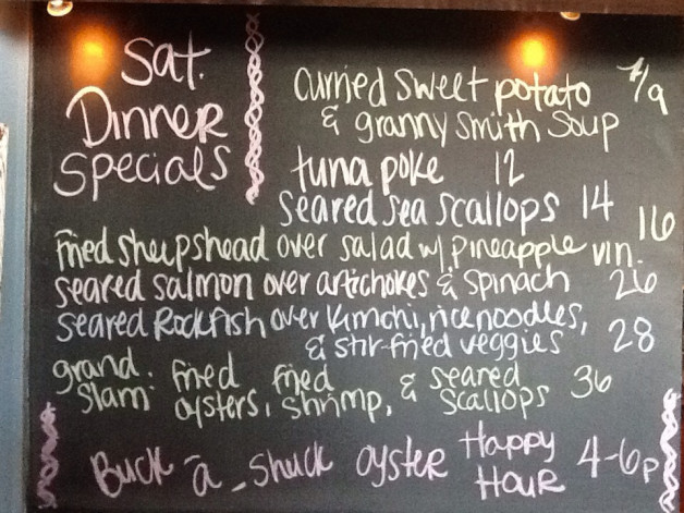 Saturday Dinner Specials include: Salmon, Rochfish and Sheepshead!