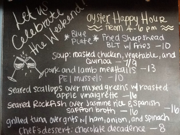 Sat. Lunch Specials include Scallops, Rockfish, Tuna and a Fried Sheepshead BLT Blue Plate!