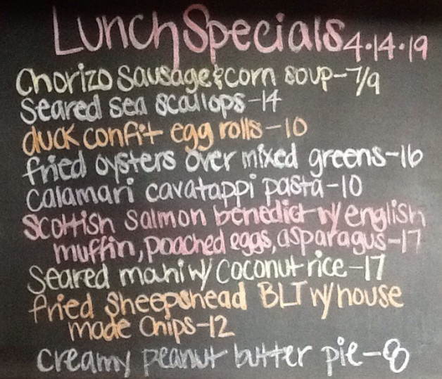 Lunch Specials Sunday April 14th, 2019