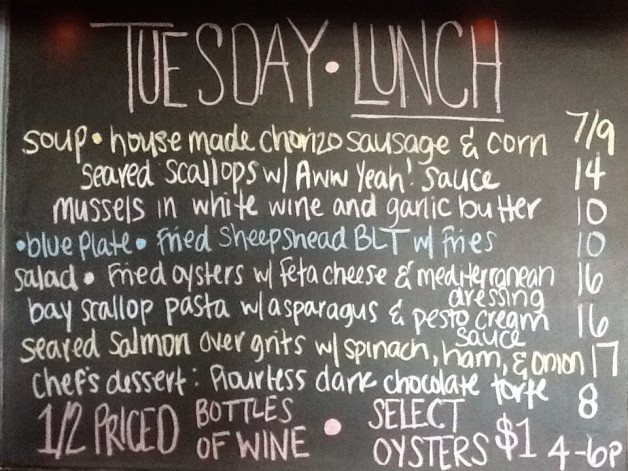 Tuesday Lunch Specials feat. 1/2 Priced Bottles of Wine and Oyster Happy Hour from 4-6pm!