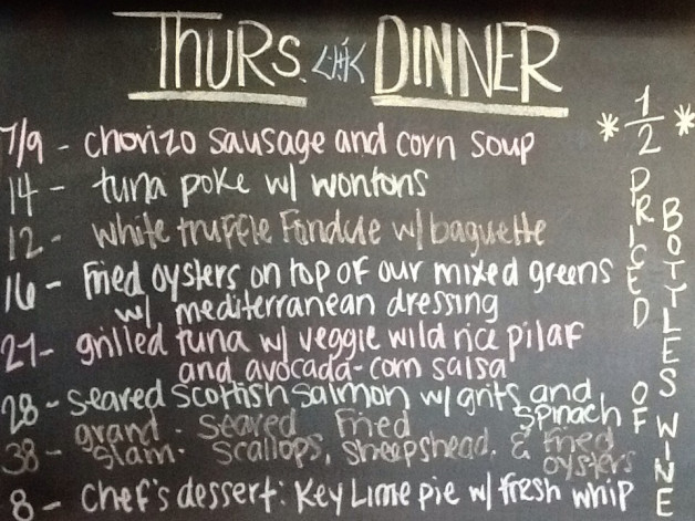 Thurs. Dinner Specials Featuring 1/2 Priced Bottles of Wine, Scallops, Sheepshead and Tuna!