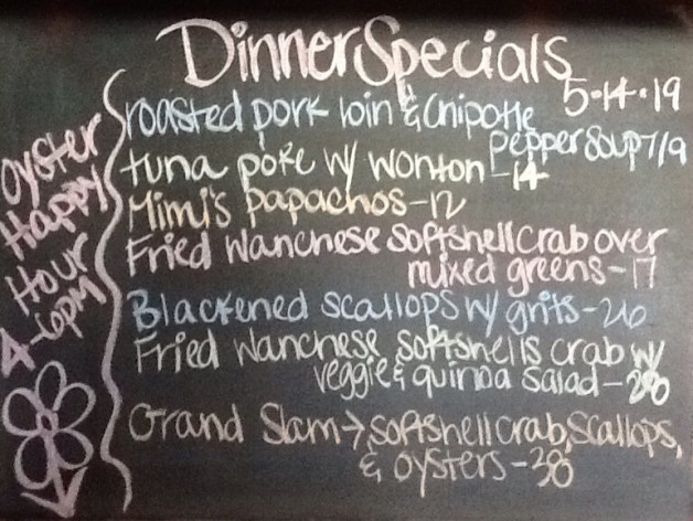 Dinner Specials Tuesday, May 14th, 2019