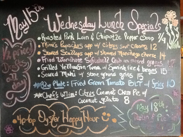 5/15 Lunch Specials include local Wanchese softshell crabs, mahi, oysters, tuna, scallops…plus we always have the Bison burger, fish tacos, corn/black bean burger, and pork/lamb meatball flatbread.   Make your online reservations for lunch or dinner.   Enjoy half off drafts all day today.   Oyster Happy Hour 4p-6p.    See you soon.