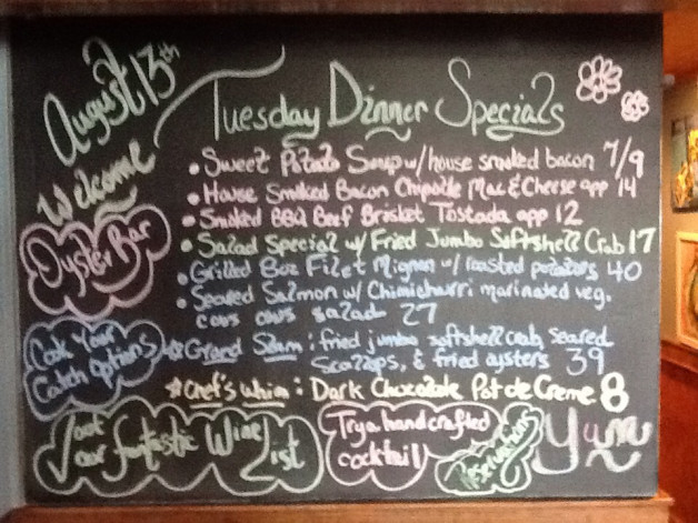 Tuesday 8/13 Dinner Specials include sweet potato soup, mac n cheese app, beef brisket tostadas app, salad special with fried jumbo softshell crab, grilled 8oz filet mignon, seared salmon, seared scallops, fried oysters, and dark chocolate pot de creme as chef's whim.  WOW!!!! In addition to all of these wonderful specials, we also have a full dinner menu with items such as green fried tomatoes, fried pickles, oyster shooters, tuna sashimi, summer salad, creamy clam chowder, ribeye, bison burger, a corn/black bean burger, fried shrimp, shrimp/grits, fish tacos, pasta, Spanish seafood stew, a kids menu, and a full dessert menu. Yum!!! Tiki Hut open today 3p-10p with live music from 5:30-8:30p and shrimp Happy Hour 3-4p daily. The restaurant is open daily 11:30a-10p and we offer online reservations, cook your catch options, full bar service, special events for larger groups with reservation, and our Oyster Raw Bar which is certainly not to be missed. Check out all of the local art for sale as well as the T shirts, glass pints, hot sauce, koozies, hats, and hand crafted oyster suckers. Bring your friends and family and dine with us. Come hungry…..leave happy. See you soon.