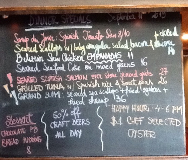 Dinner Specials are out ! Don't forget about our Oyster Happy Hour and the 50%off for the craft beers !