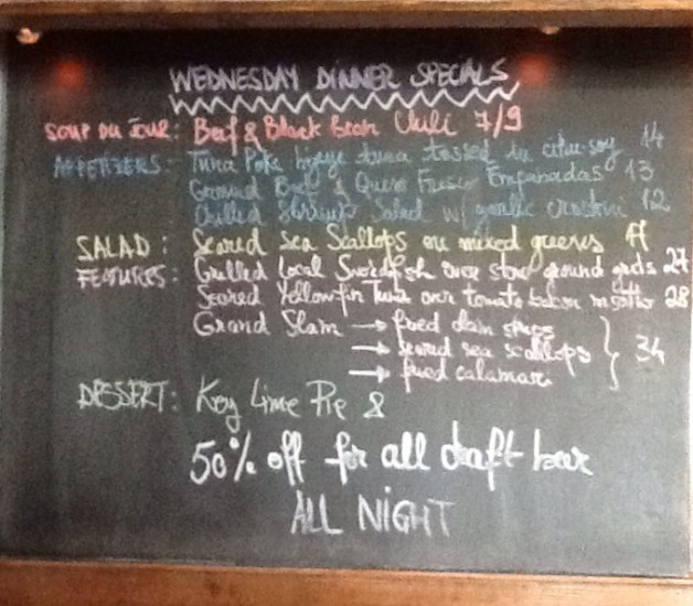 Wednesday Dinner Specials are out! Come and have a draft beer for 50%off all night and enjoy our dinner menu!