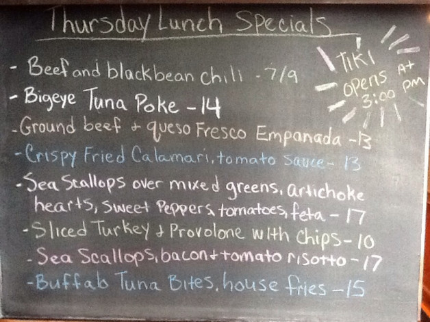 TIKI IS OPEN AT 3 PM TODAY COME ENJOY THIS AMAZING WEATHER! Thursday Lunch Specials: 1/2 price Wine Bottles All day